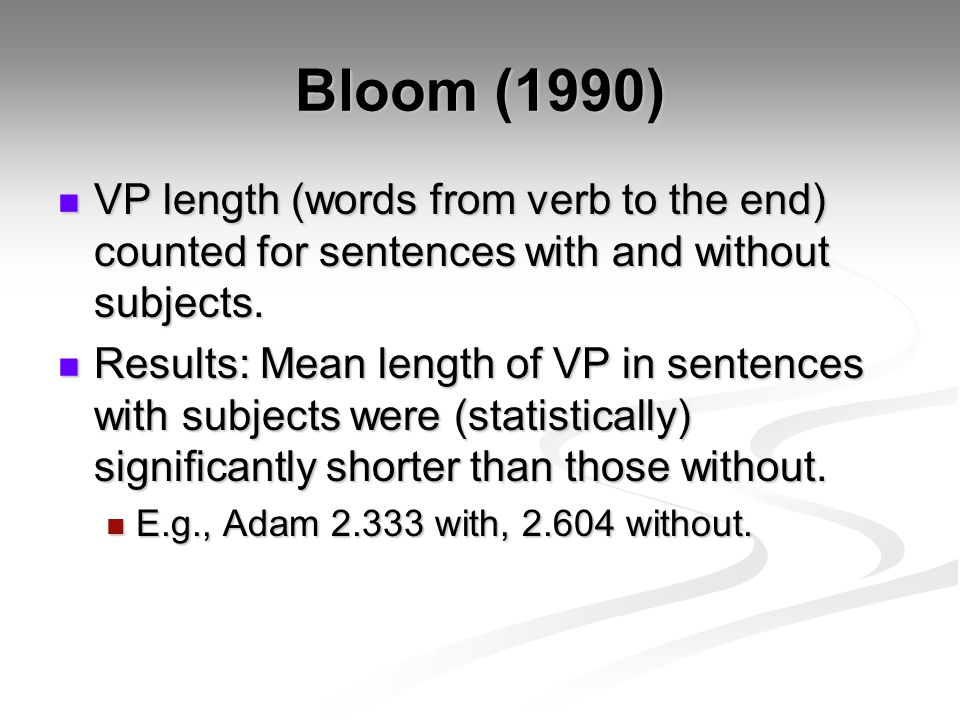 Bloom (1990) VP length (words from verb to the end) counted for sentences with and without subjects.