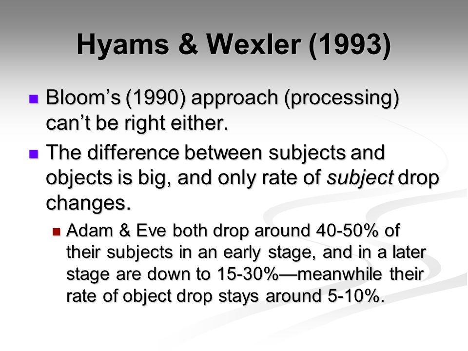 Hyams & Wexler (1993) Bloom's (1990) approach (processing) can't be right either.