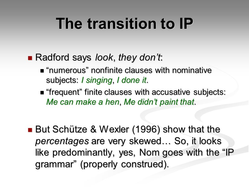 The transition to IP Radford says look, they don't: