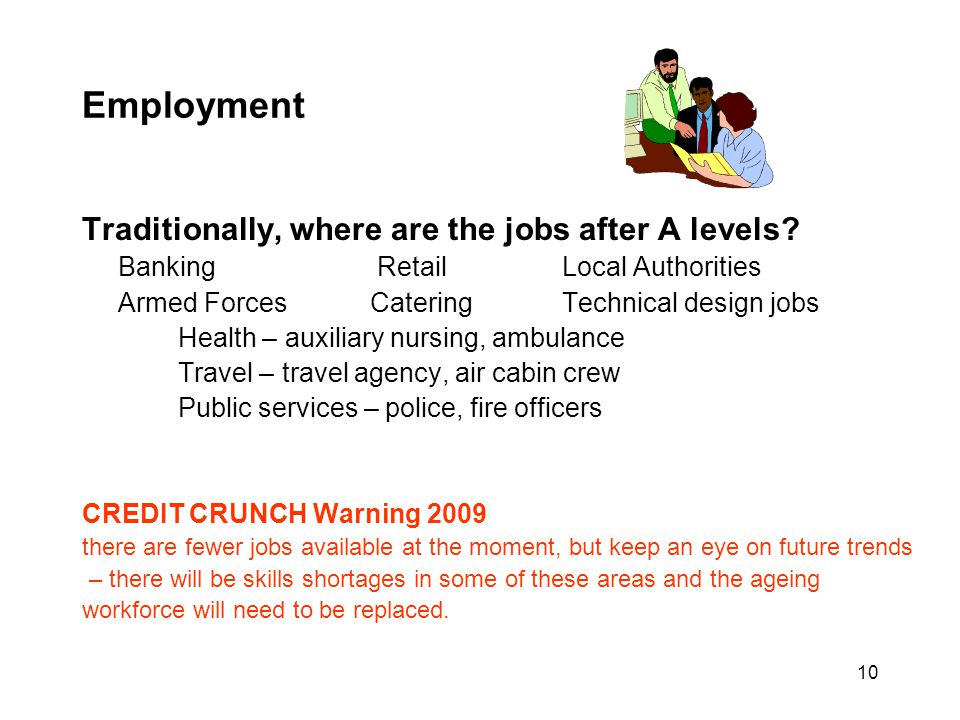 Employment Traditionally, where are the jobs after A levels