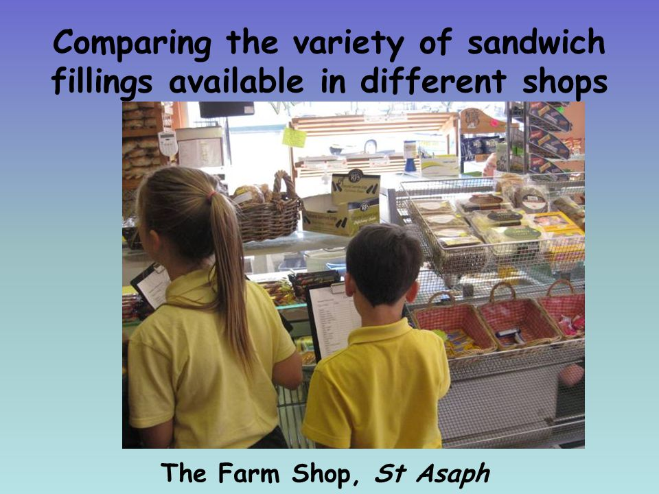 Comparing the variety of sandwich fillings available in different shops