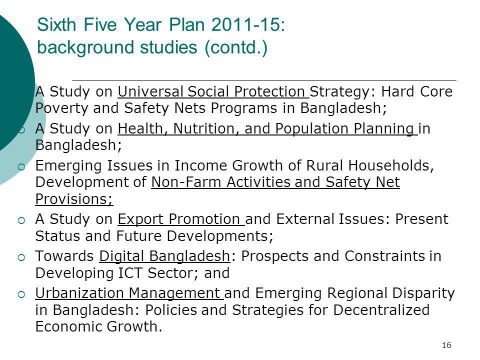 Sixth Five Year Plan 2011-15: background studies (contd.)