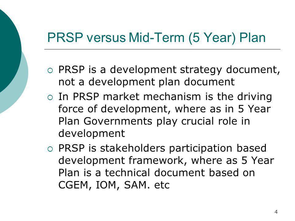 PRSP versus Mid-Term (5 Year) Plan