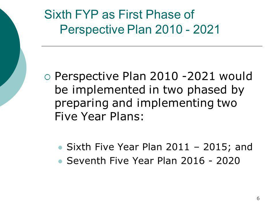 Sixth FYP as First Phase of Perspective Plan 2010 - 2021