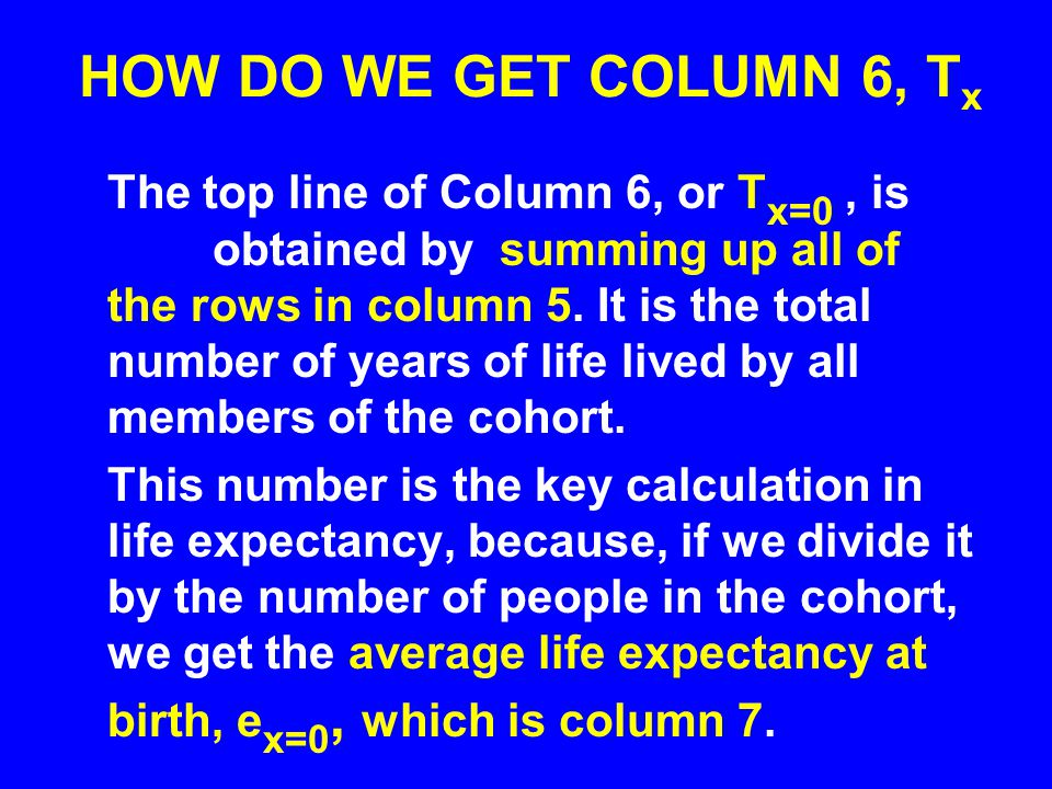 HOW DO WE GET COLUMN 6, Tx