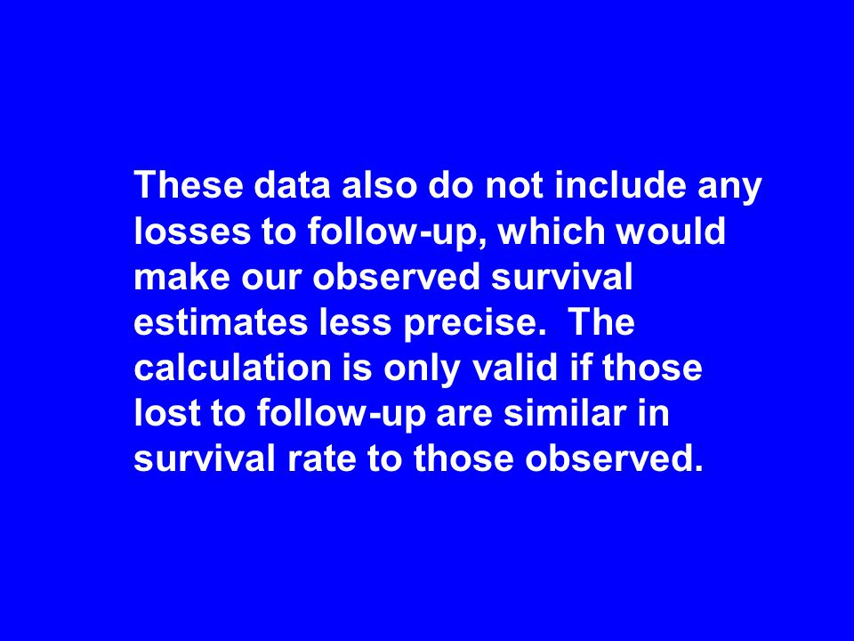 These data also do not include any losses to follow-up, which would make our observed survival estimates less precise.
