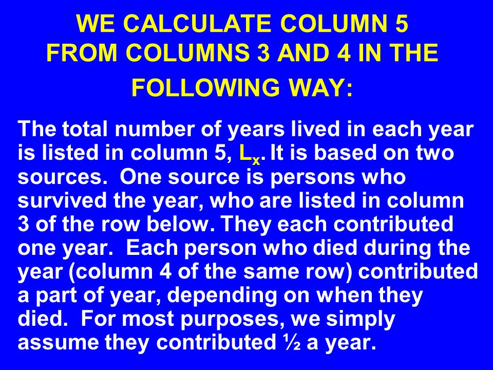 WE CALCULATE COLUMN 5 FROM COLUMNS 3 AND 4 IN THE FOLLOWING WAY: