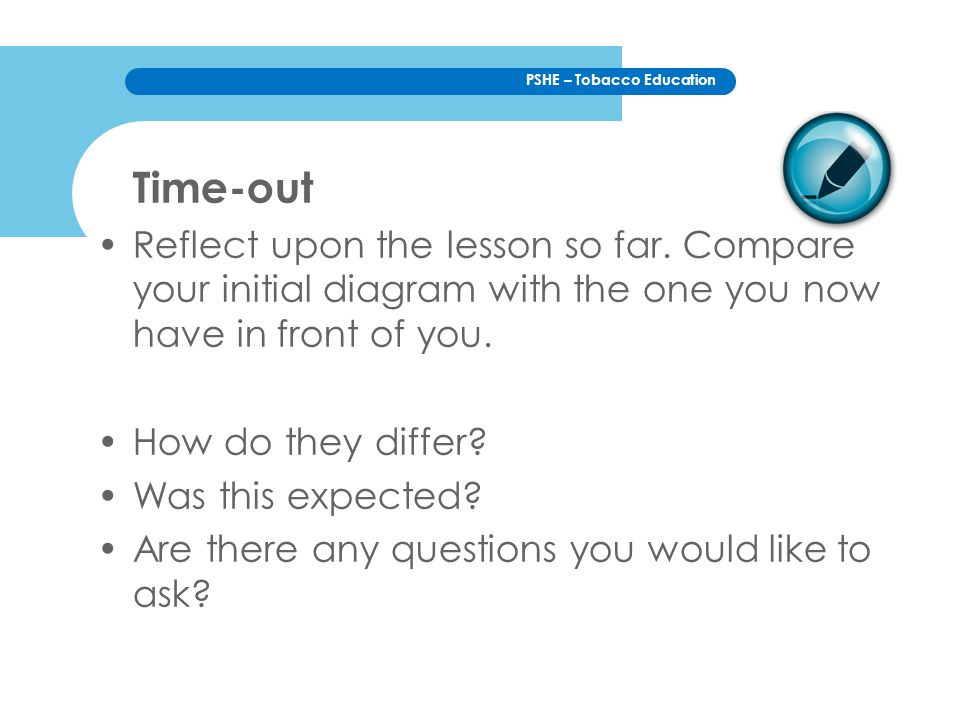 Time-out Reflect upon the lesson so far. Compare your initial diagram with the one you now have in front of you.