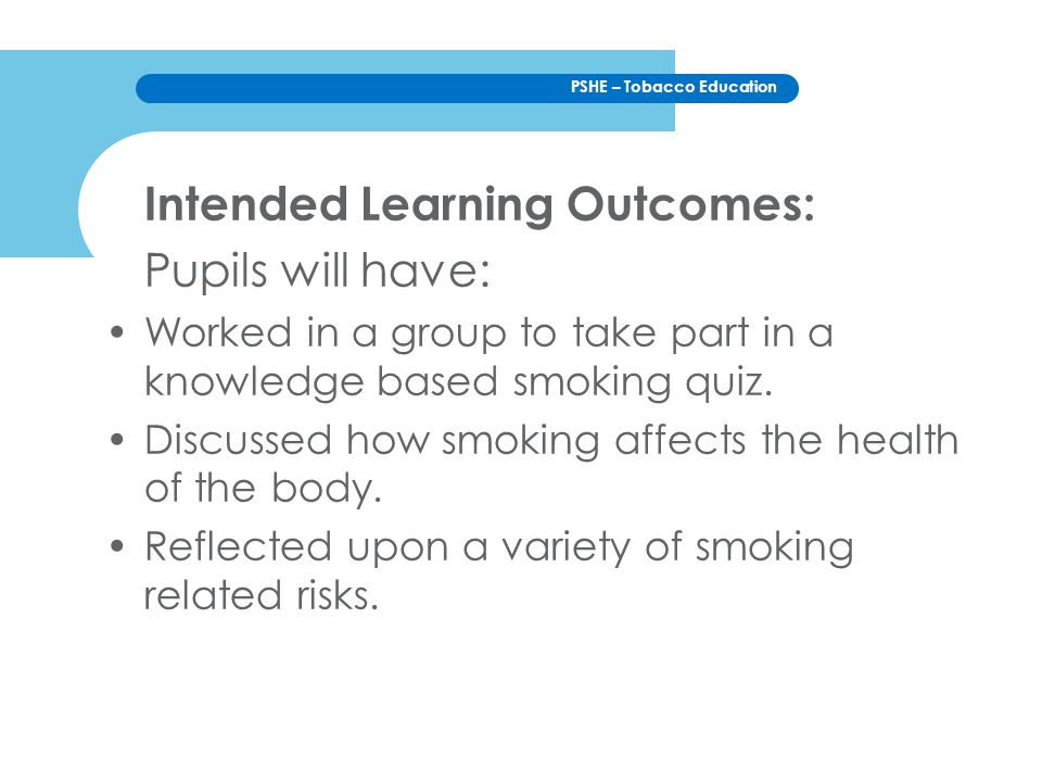 Intended Learning Outcomes: Pupils will have: