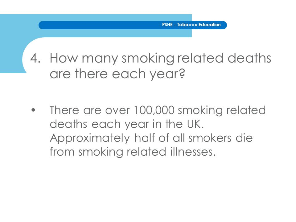 How many smoking related deaths are there each year