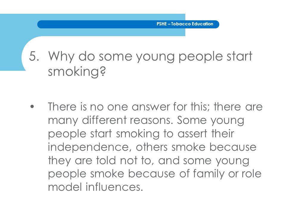 Why do some young people start smoking