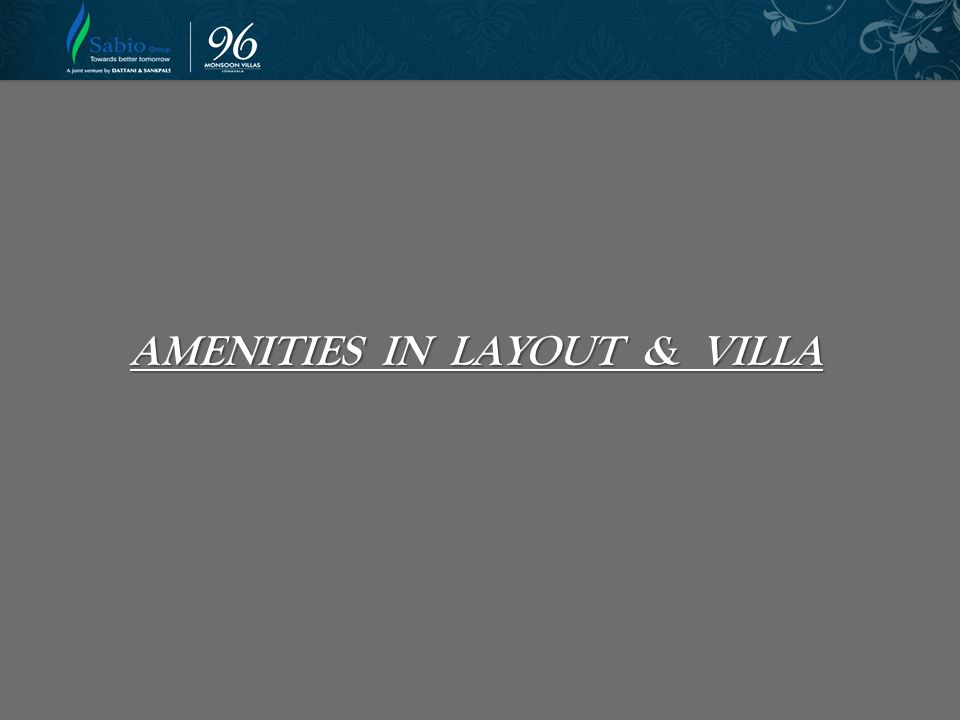 AMENITIES IN LAYOUT & VILLA