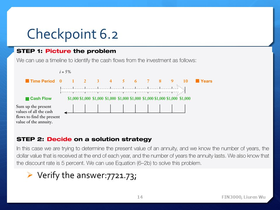 Checkpoint 6.2 Verify the answer:7721.73; FIN3000, Liuren Wu