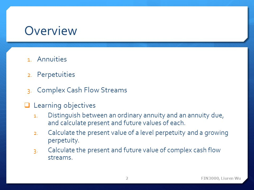 Overview Annuities Perpetuities Complex Cash Flow Streams