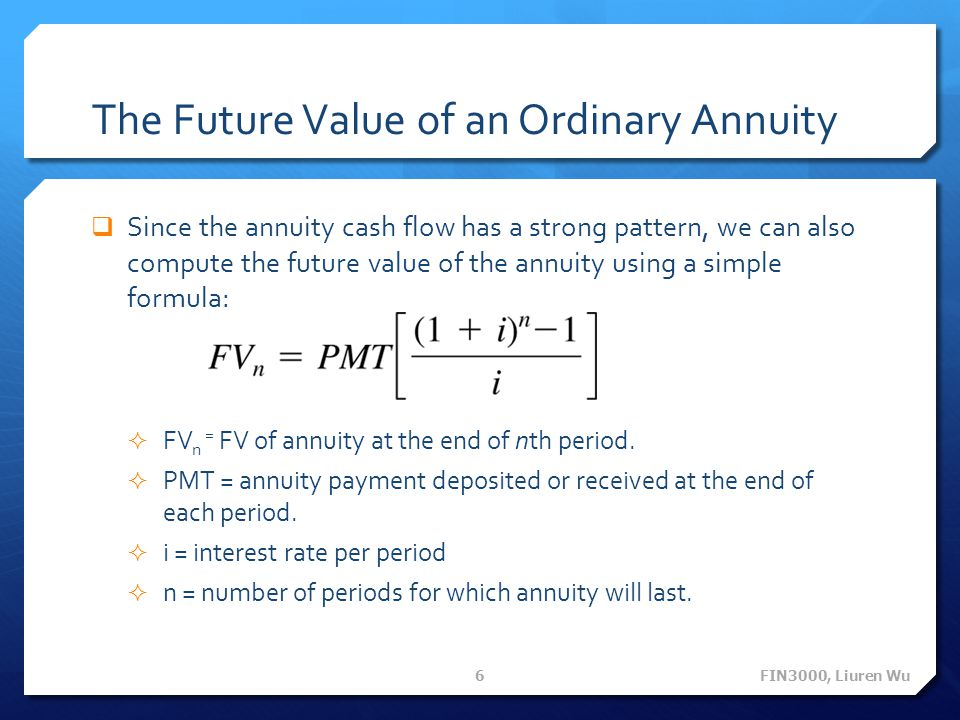 The Future Value of an Ordinary Annuity