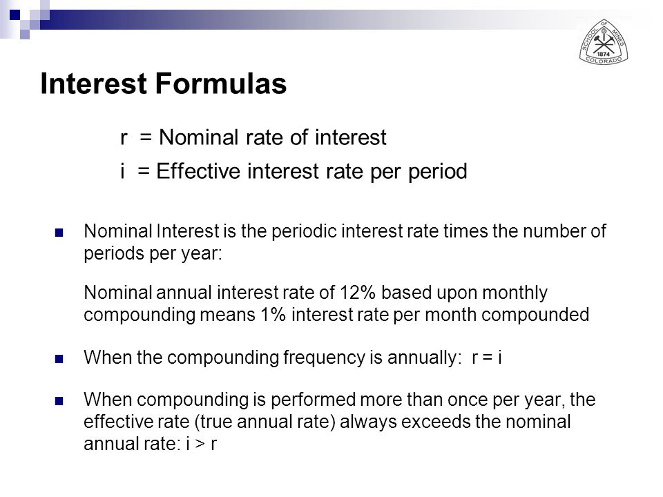 r = Nominal rate of interest