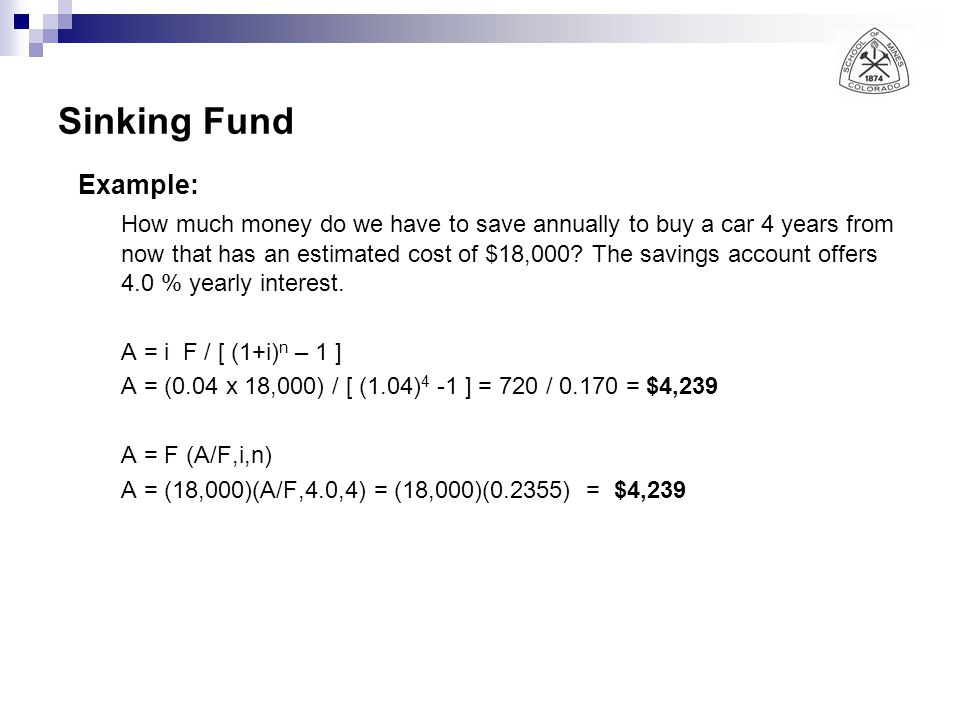 Sinking Fund Example: