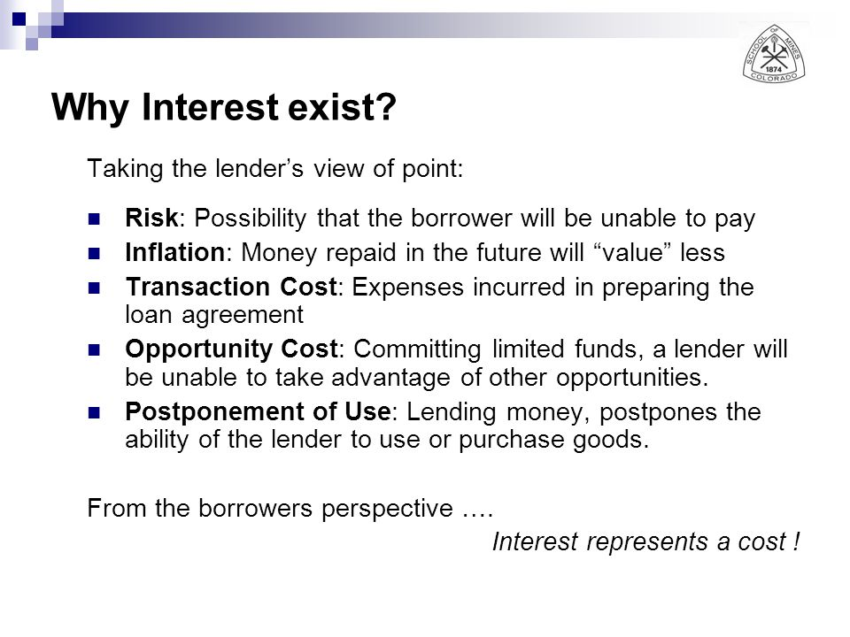 Why Interest exist Taking the lender's view of point:
