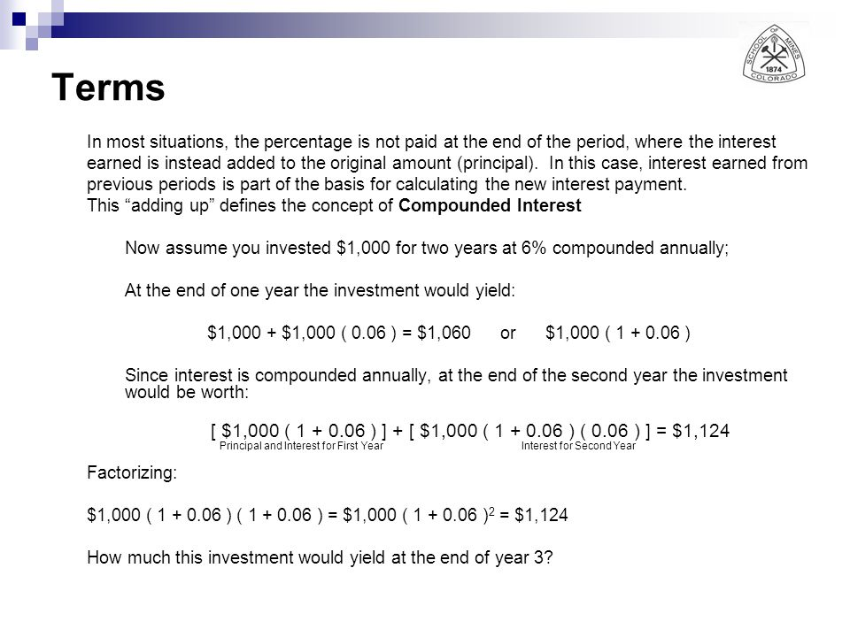 Terms In most situations, the percentage is not paid at the end of the period, where the interest.