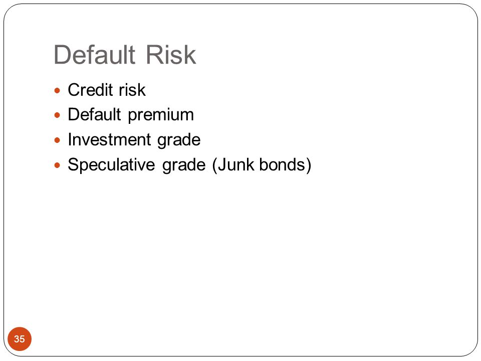Default Risk Credit risk Default premium Investment grade