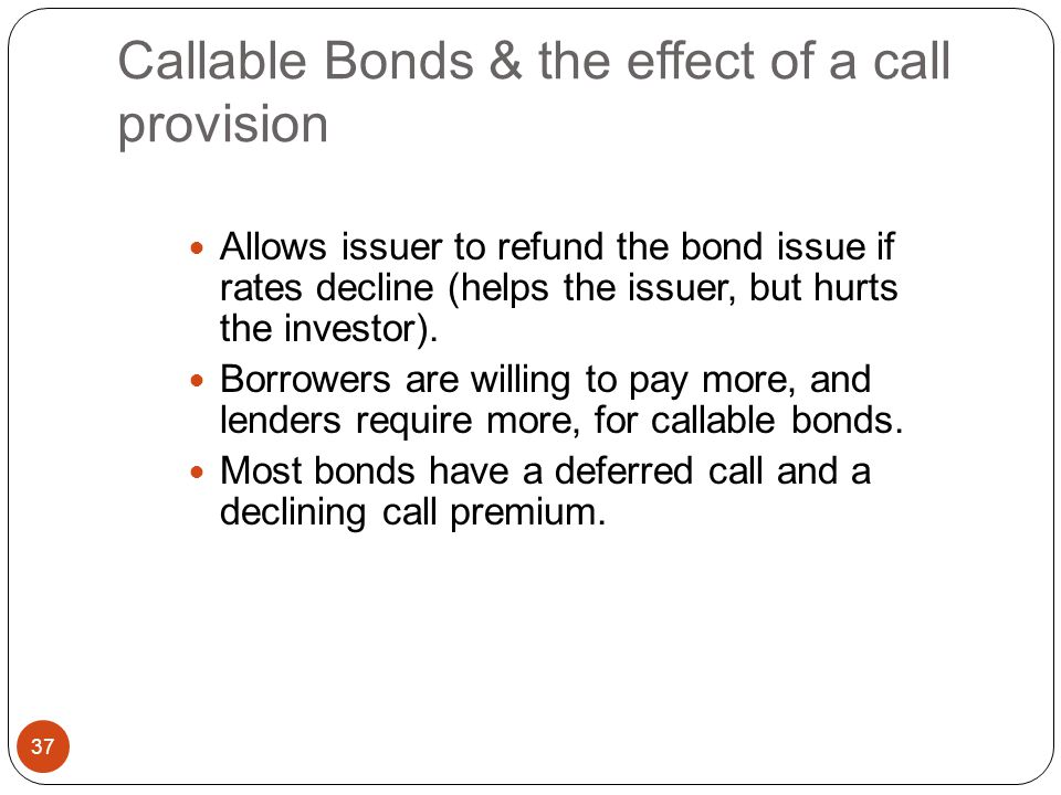 Callable Bonds & the effect of a call provision