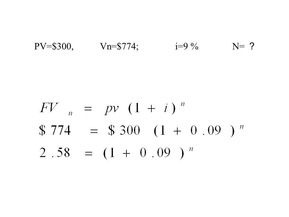 PV=$300, Vn=$774; i=9 % N= ?