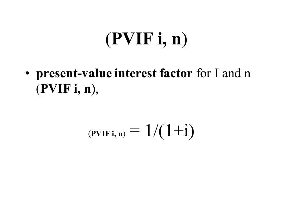 (PVIF i, n) (PVIF i, n) = 1/(1+i)