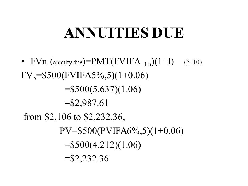 ANNUITIES DUE FVn (annuity due)=PMT(FVIFA I,n)(1+I) (5-10)