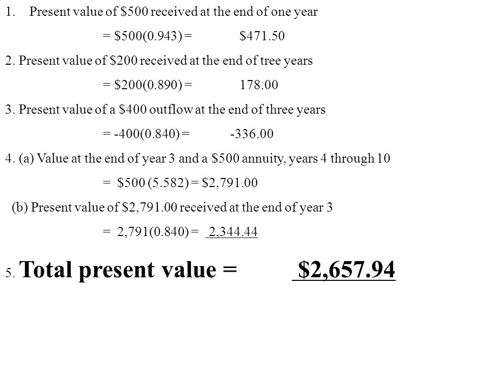 Present value of $500 received at the end of one year