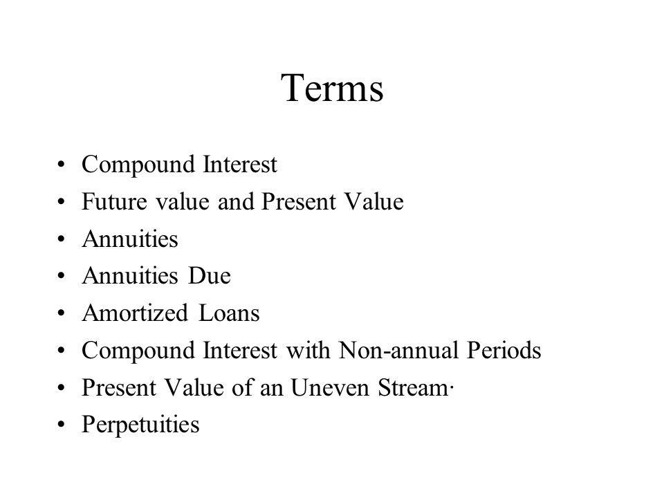 Terms Compound Interest Future value and Present Value Annuities