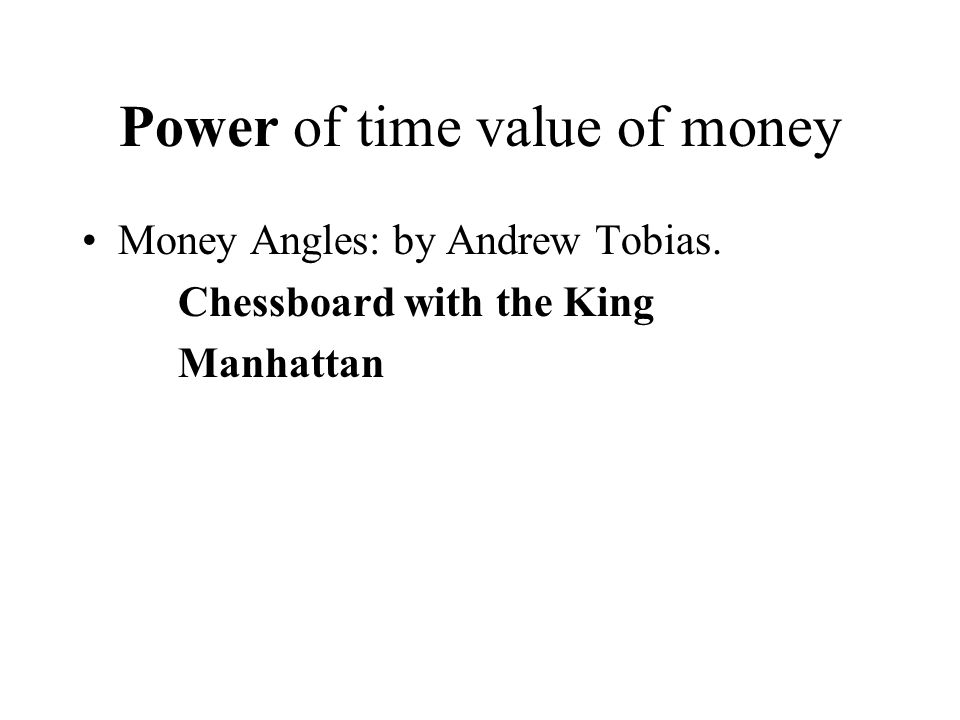 Power of time value of money