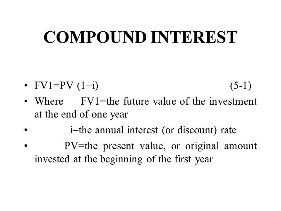 COMPOUND INTEREST FV1=PV (1+i) (5-1)