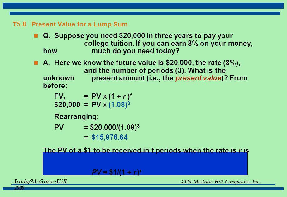 T5.8 Present Value for a Lump Sum
