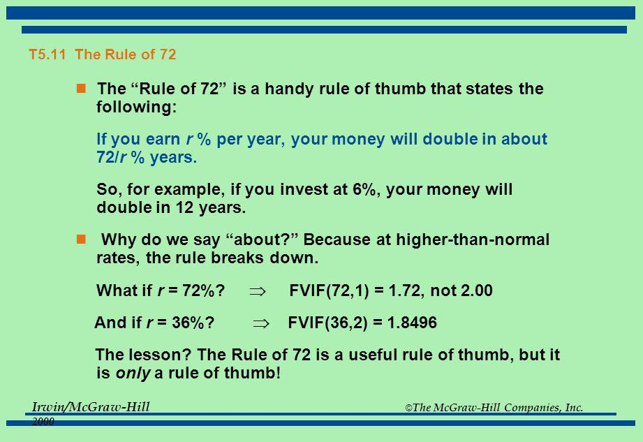 The Rule of 72 is a handy rule of thumb that states the following: