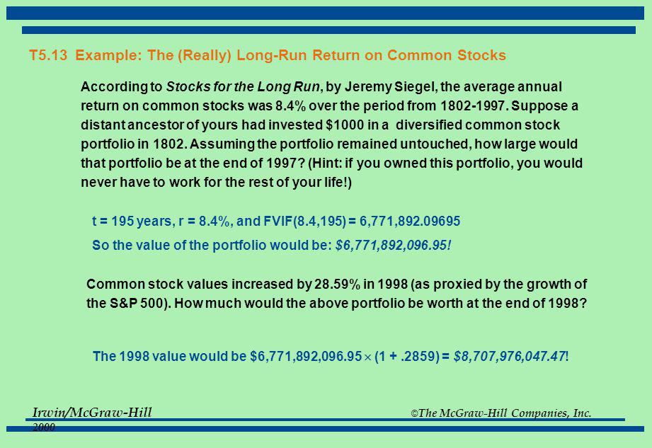 T5.13 Example: The (Really) Long-Run Return on Common Stocks