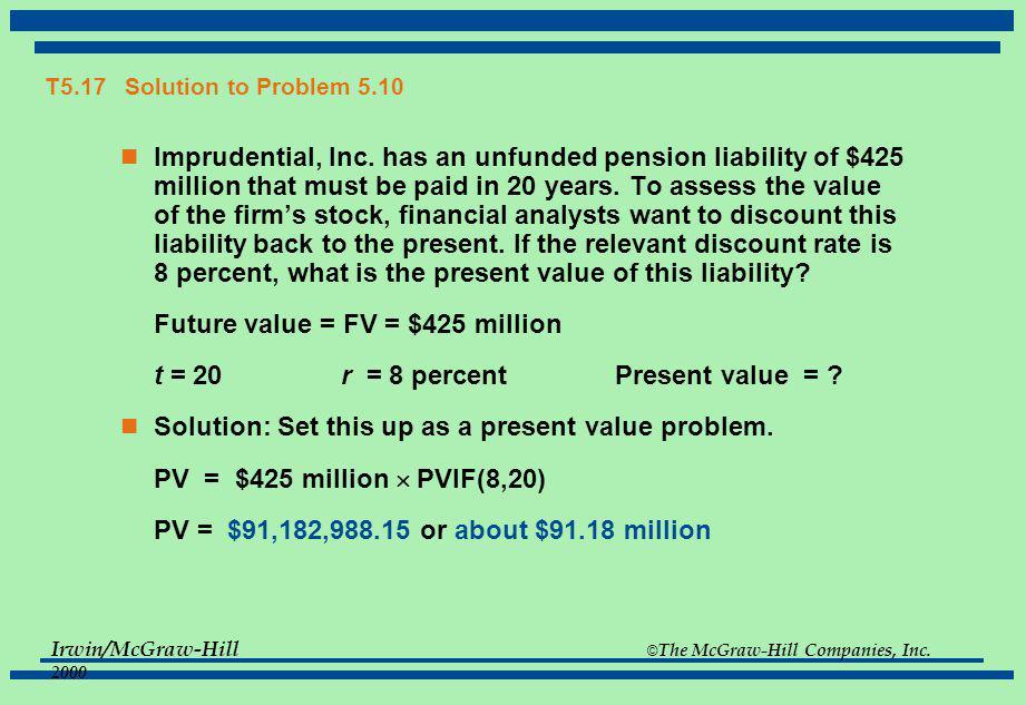 Future value = FV = $425 million