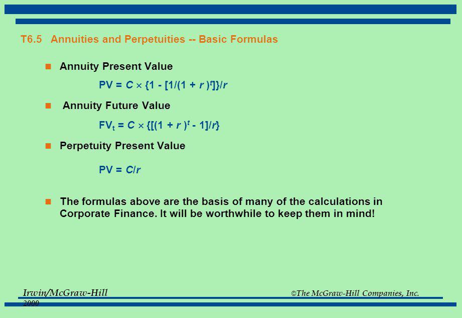 T6.5 Annuities and Perpetuities -- Basic Formulas