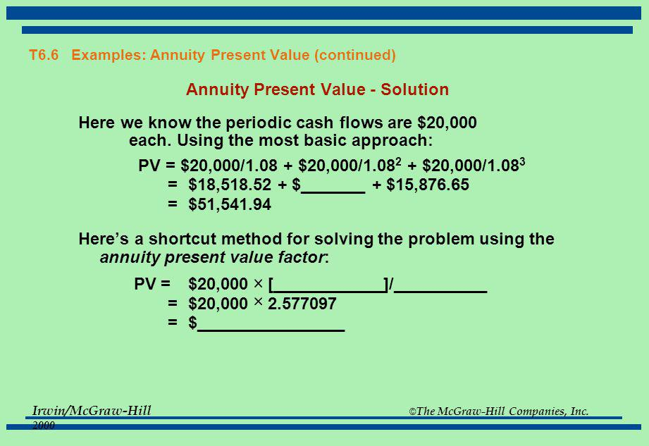 T6.6 Examples: Annuity Present Value (continued)