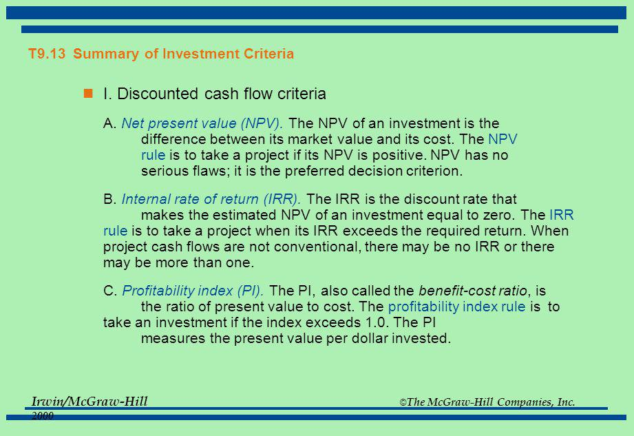 T9.13 Summary of Investment Criteria