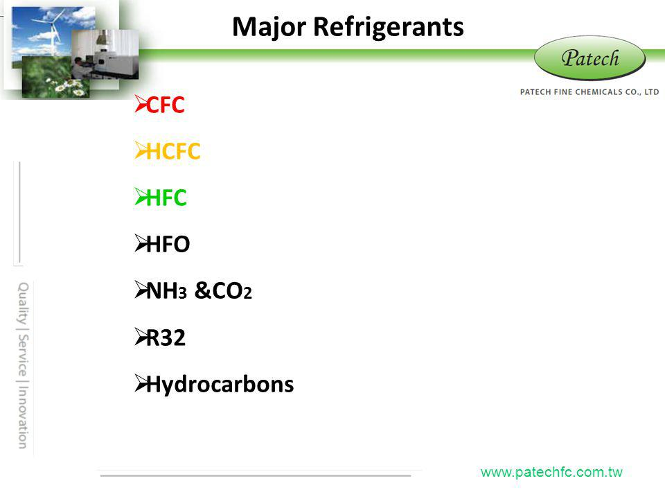 Major Refrigerants CFC HCFC HFC HFO NH3 &CO2 R32 Hydrocarbons