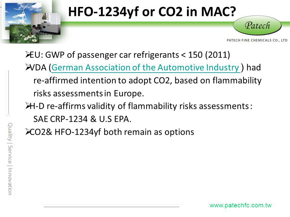 HFO-1234yf or CO2 in MAC Patech