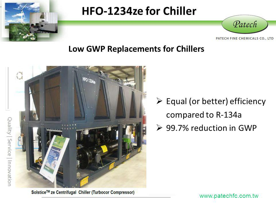 HFO-1234ze for Chiller Patech Low GWP Replacements for Chillers