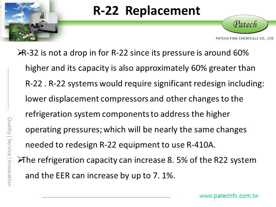 R-22 Replacement Patech. R-32 is not a drop in for R-22 since its pressure is around 60%