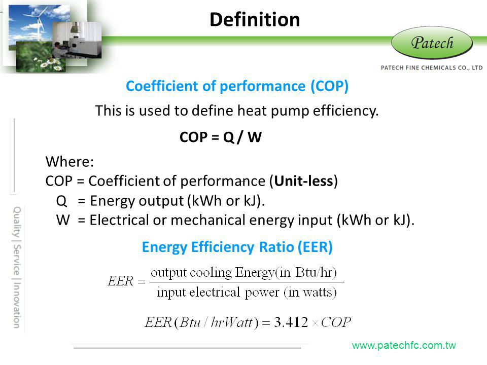 Definition Patech Coefficient of performance (COP)