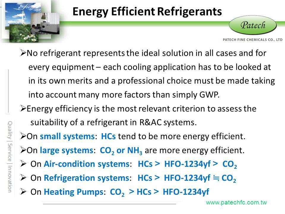 Energy Efficient Refrigerants