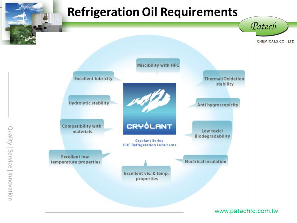 Refrigeration Oil Requirements Patech