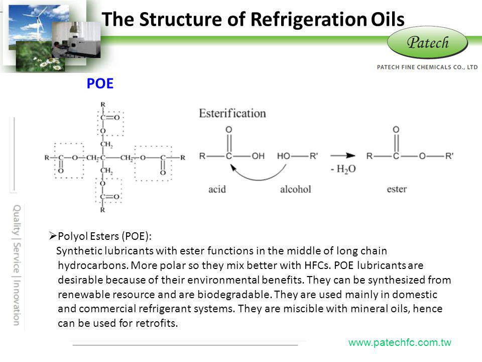 The Structure of Refrigeration Oils Patech