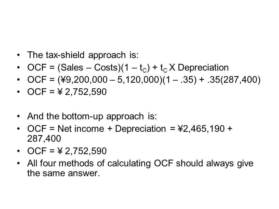 The tax-shield approach is: