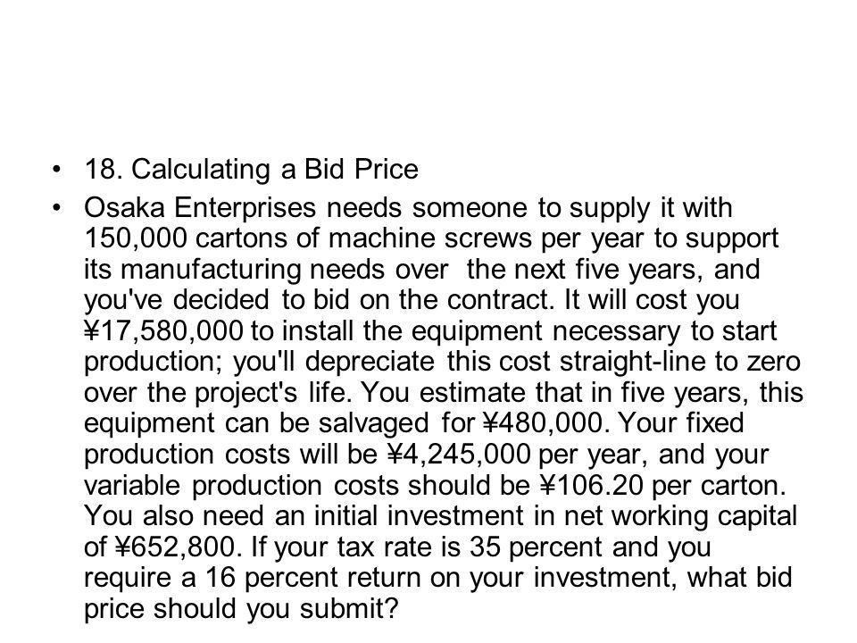 18. Calculating a Bid Price
