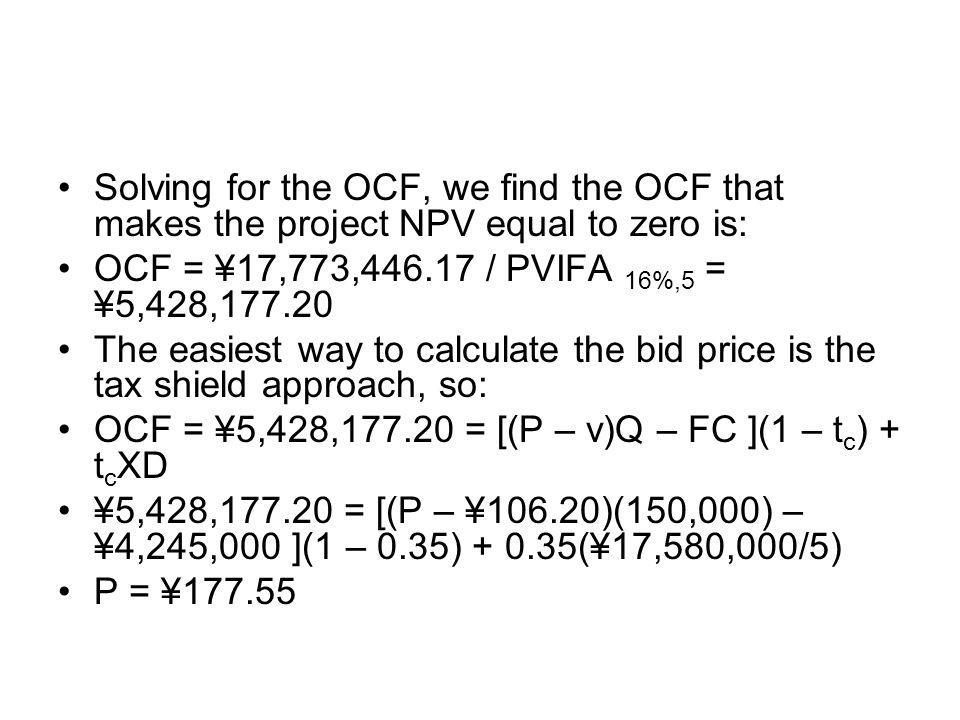 Solving for the OCF, we find the OCF that makes the project NPV equal to zero is: